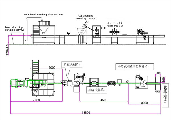 Grains Granule Weighing Filling, Capping, Labeling Production Line