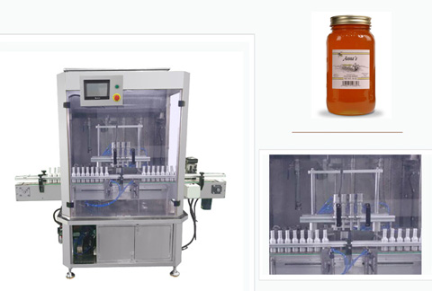 Honey Bottle Automatic Filling Machine 4 Heads Type